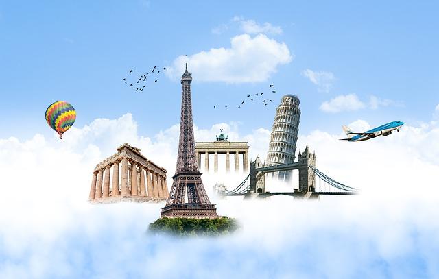 letadlo s francouzskými památkami v pozadí